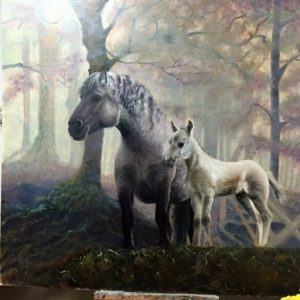 Horses in autum forest